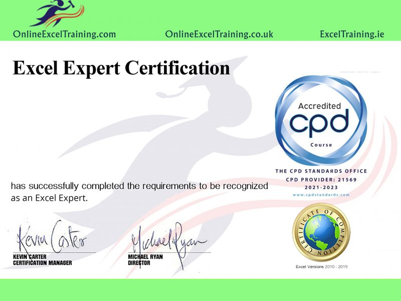 online excel course with certs